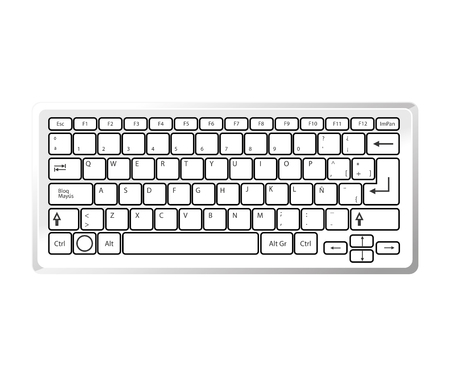 typescript: keyboard device computer pc typescript alphabet qwerty button vector  isolated illustration