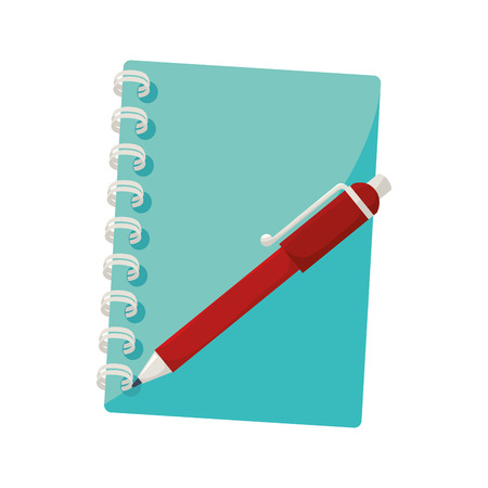 notebook pen cover notes stationary page office tool utensil handwriting vector  isolated illustration