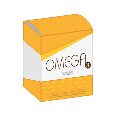 retail therapy: omega vitamin pill box drug medicine medical health vector  isolated illustration Illustration