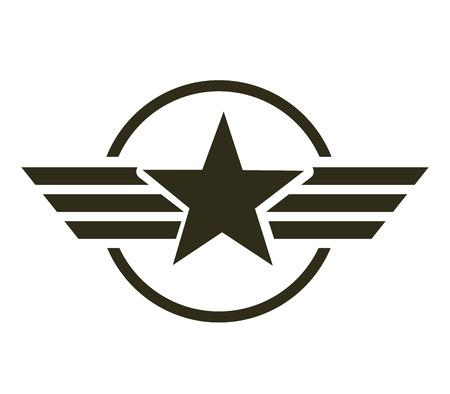 군사 스타 상징 절연 아이콘 벡터 일러스트 디자인 일러스트