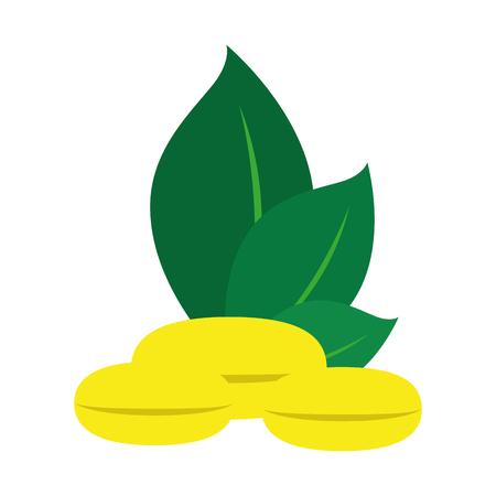 oily: capsule gold medicine vitamin natural eco health leaf plant vector  isolated illustration