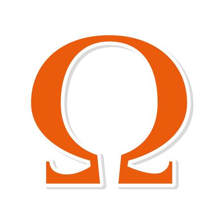omega symbol alphabet letter greek sign vector  isolated illustration Illustration