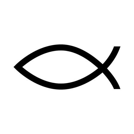 魚のキリスト教宗教キリスト聖書の象徴的なシルエットの分離ベクトル図