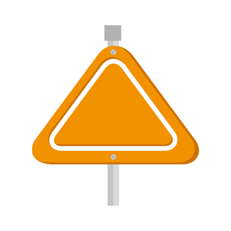 yellow sign safety caution traffic metal triangle vector  isolated and flat illustration Illustration