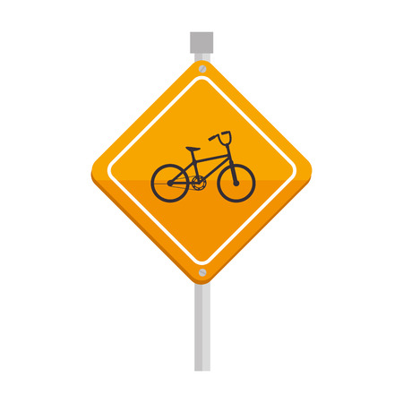 tarmac: yellow bike bicycle sign safety attention warning vector  isolated and flat illustration