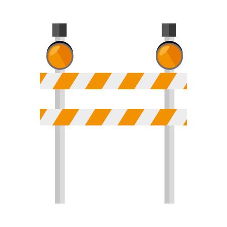 barrier precaution yellow  light roadsign construction warning vector  isolated and flat illustration Illustration