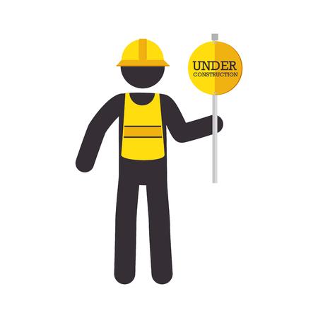 precaution: man sign yellow reflection helmet precaution warning worker under construction vector  isolated and flat illustration