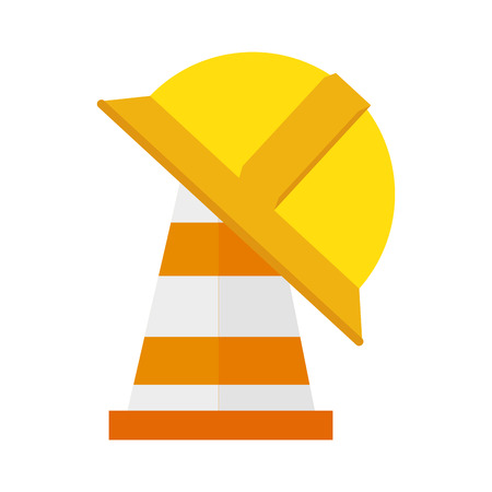 cone helmet yellow orange striped construction signal vector  isolated and flat illustration Illustration