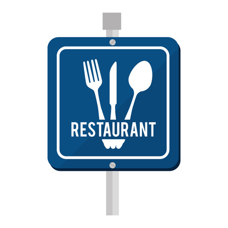 tablespoon: sign road restaurant fork knife fork food vector  isolated and flat illustration Illustration
