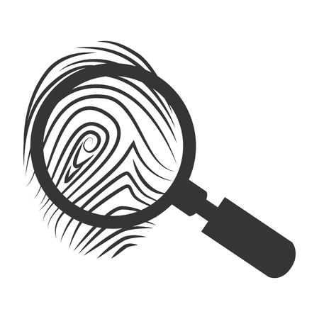 theft proof: lupe scene crime magnifying search investigation silhouette vector  isolated and flat illustration