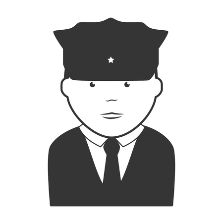 security uniform: policeman security hat suit tie uniform face cap vector  isolated and flat illustration