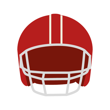 canadian football: helmet football american head protection red men vector  isolated and flat illustration