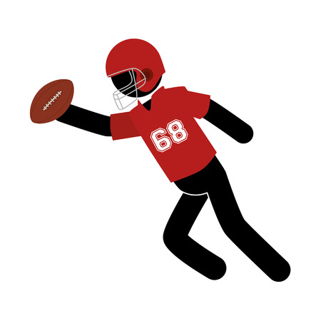 american football player playing ball helmet pose vector  isolated and flat illustration Illustration