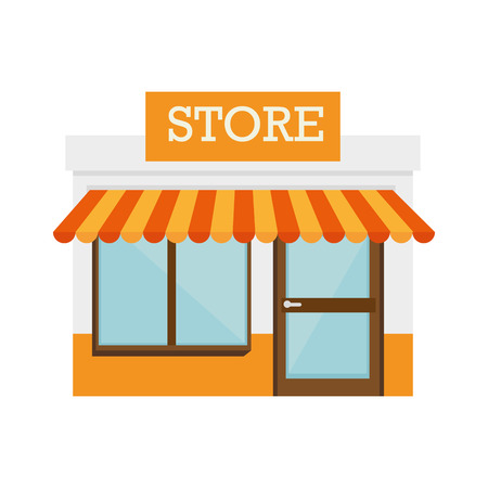 shop local: shop store door front building local window vector  isolated and flat illustration Illustration