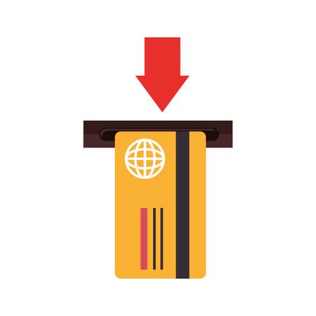 plastic money: card debit insert arrow remove credit money pay chip transaction plastic  money vector  isolated and flat illustration