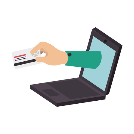 plastic money: card online internet hand credit money pay chip transaction plastic pay computer laptop money vector  isolated and flat illustration