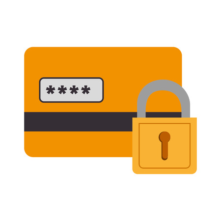lock block: card block lock pin security  credit money pay chip transaction plastic  money vector  isolated and flat illustration