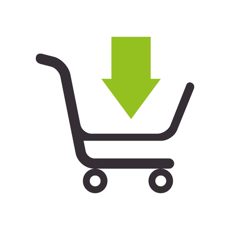 cart add arrow shopping supermarket market carrying store vector  isolated and flat illustration Vectores