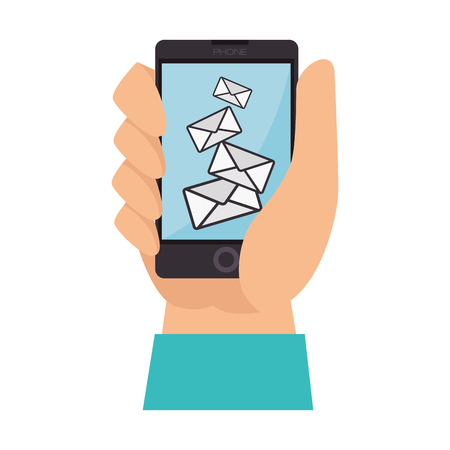 get in touch: check mail hand finger inbox send mailbox read delivery vector  isolated and flat illustration