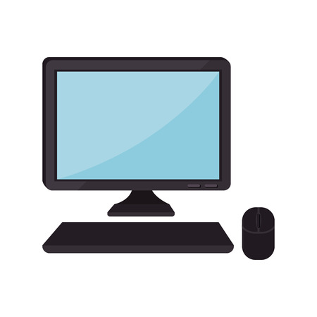 pc monitor: monitor pc computer screen device technology computer mouse keyboard vector isolated  illustration