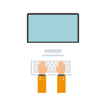 pc monitor: monitor pc computer hads typing screen device technology computer mouse keyboard vector  isolated and flat illustration