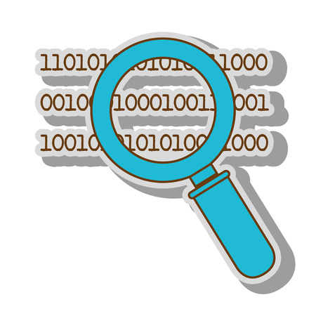 lupe: lupe binary code search system look handle vector  illustration isolated