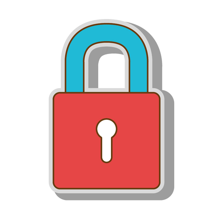 safeguard: lock security safety safeguard object closed vector  isolated and flat illustration