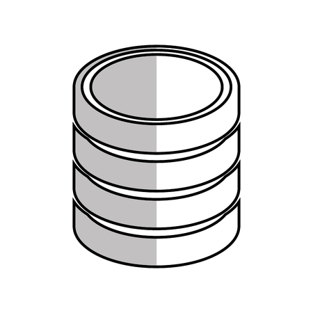 protected database: database hard disk host information cylinder system data pc vector  illustration isolated