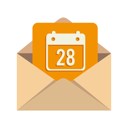 calendar day: message calendar day mail inbox open month vector  illustration isolated