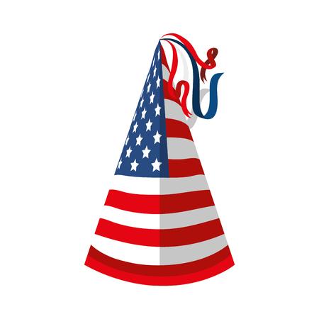 hat flag united states of america usa celebration vector  illustration isolated