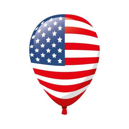 balloon america flag red blue stars white celebration decoration day pride vector illustration  isolated