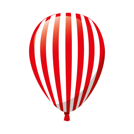 balloon stripes red decoration party celebration air fly vector  illustration isolated