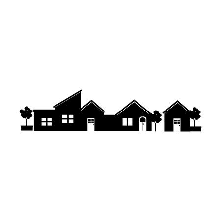 街路樹モダンな住宅自宅建物の外装レジデンス ベクトル図が分離した家します。