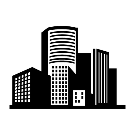 building structure: building structure silhouette window tower city dowtown corporate  vector  illustration isolated Illustration