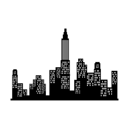 chrysler: new york silhouette city building skyline view front vector  illustration isolated Illustration