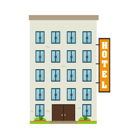 recreation rooms: hotel building business property bethdrooms architecture window door vector  illustration isolated