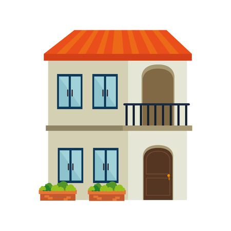 residence: house modern residential real home building exterior residence vector  illustration isolated