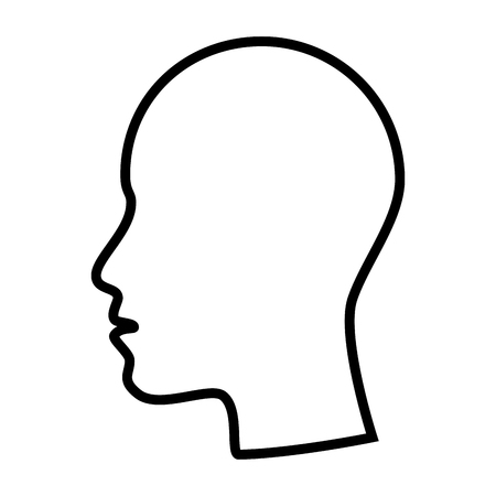 head profile: face head side profile mouth nose human person vector  isolated and flat illustration