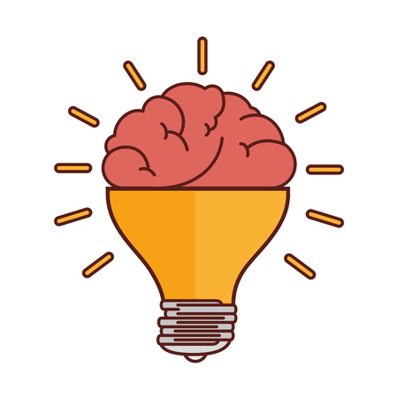 brain bulb idea ingenious light bright organ human vector illustration isolated