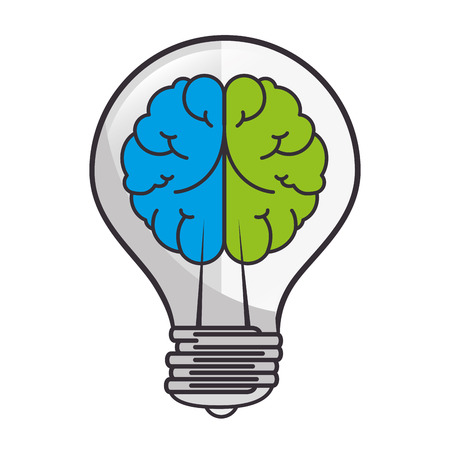 ingenious: brain bulb idea ingenious light bright organ human vector illustration isolated