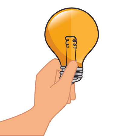 illumination: bulb light electricity hand holding idea illumination power bright think vector isolated and flat illustration