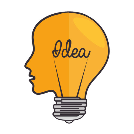 brain head think idea light electricity power intellect creative genius vector illustration isolated