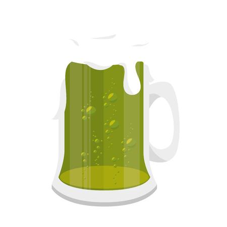 irish beer: beer green irish ireland traditional alcholo foam glass vector illustration isolated