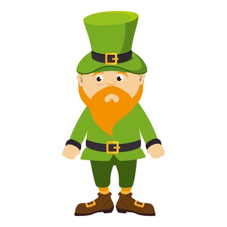 leprechaun irish hat bear green costume boots  day st patrick ireland cute vector illustration isolated