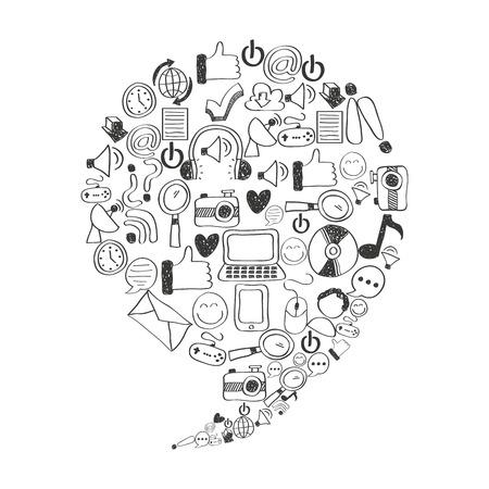 Conjunto de iconos de diseño de ilustración vectorial de medios sociales