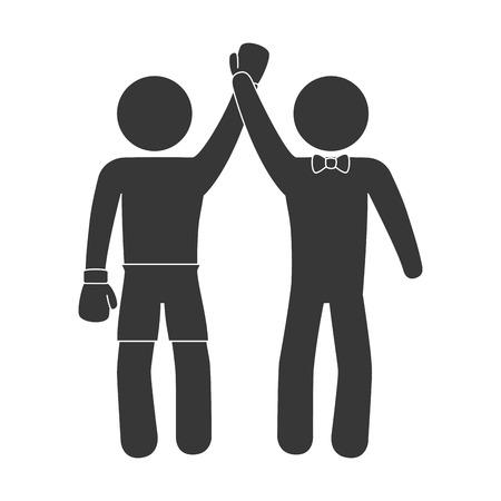 pugilist: boxing winner man referee hand up gloves sport game champion vector illustration isolated