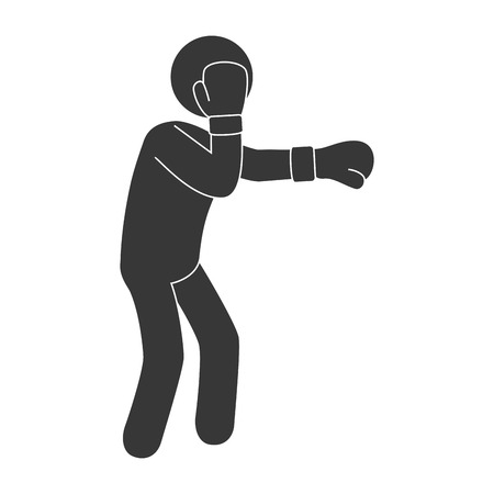 punch: man boxing punch exercise training pose gloves combat vector illustration isolated Illustration