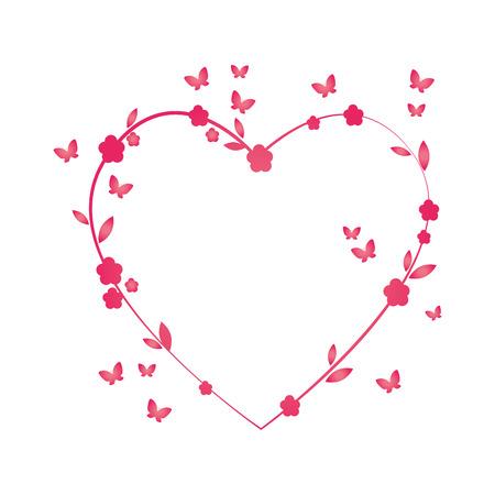 Blume rosa Schmetterling verlässt natürliche Blumenschmuck Liebe Herz Vektor-Illustration isoliert