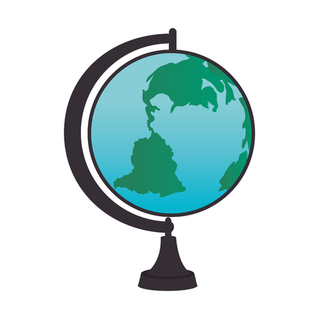 geography: globe object school geography global world map  vector illustration isolated