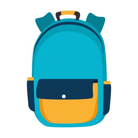 Rucksack Schule Rucksack Student Tasche Element Objekt Vektor-Illustration isoliert